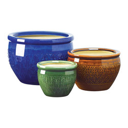 KOOLEKOO - Jewel-Tone Flower Pot Trio - Bring a burst of color to your garden! Embossed earthenware flower pots are sumptuous in shades of azure, topaz and peridot. Set includes three separate sizes to hold a variety of your favorite greenery! Drain hole at bottom of each pot.