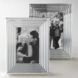 """Lauren Ralph Lauren - Lauren Ralph Lauren """"Caitlin"""" 5"""" x 7"""" Frame - Modern and sophisticated, these stunning frames feature a handsome, architectural, art deco-inspired design. Made of nickel-plated steel. Small frame, 6.25""""W x 1""""D x 8.25""""T; holds a 4"""" x 6"""" photo. Large frame, 7.25""""W x 1""""D x 9.25""""T; holds a 5"""" x 7"""" p..."""