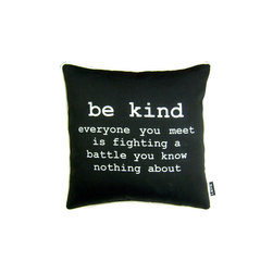 Be Kind Black 16X16 Pillow (Indoor/Outdoor) - 100% polyester cover and fill.  Suitable for use indoors or out.  Made in USA.  Spot Clean only