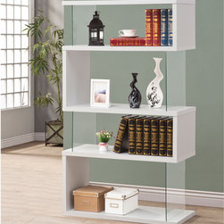 """Coaster - Bookshelf, White - This sleek bookshelf gives the illusion of floating shelves. Made from a combination of wood and glass, this contemporary piece is perfect for displaying valuables or books. Finished in white.; Contemporary Style; Finish/Color: White; Dimensions: 35.50""""L x 11.75""""W x 63""""H"""