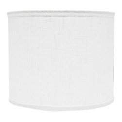 """Lamps Plus - Contemporary White Linen Drum Lamp Shade 14x14x11 (Spider) - An easy way to refresh any room this off-white lamp shade features a cotton exterior and polystyrene interior liner. The soft color will perfectly complement any style decor. A chrome spider fitter completes the look. The correct size harp is included. White lamp shades. Hardback shade design. Drum lamp shade. Chrome spider fitter. Cotton material. Unlined. 9"""" harp. 1/2"""" fitter drop. 14"""" across the top and bottom. 11"""" high. Made in USA.  White lamp shades.  Hardback shade design.  Drum lamp shade.  Chrome spider fitter.  Cotton material.  Unlined.  Made in USA.  9"""" harp.  1/2"""" fitter drop.  14"""" across the top and bottom.  11"""" high."""