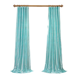 """Exclusive Fabrics & Furnishings - Spa Dupioni Silk Curtain - SOLD PER PANEL . 100% Silk .Lined . 3"""" Pole Pocket with Hook Belt .Dry Clean Only ."""