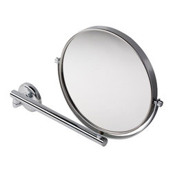 Geesa - Modern Turnable Shaving Mirror with 3X Magnification - Contemporary style wall mounted round magnifying mirror with 3x magnification. Made of glass and brass with a chrome finish. Wall mounted magnification mirror. 3x magnification. Made of glass and brass in a chrome finish. From the Geesa Mirror collection.