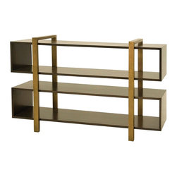 Metropolitan Low Bookcase - A modern, masculine and luxury approach to furniture design. Our Metropolitan collection is made by crafty artisans from Honduras. Metropolitan collection is designed of poplar wood and antiqued recycled brass.