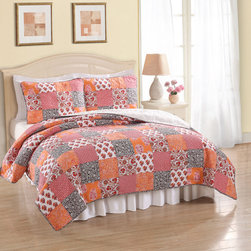 None - Gia Cotton 3-piece Quilt Set - Warm up your bedroom with this patchwork three-piece quilt set that includes the coverlet and two shams. The handcrafted multicolor design brings bright color to your bed, and the 100 percent cotton construction offers comfort and softness.