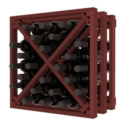 Lattice Stacking X Wine Cube in Redwood with Cherry Stain - Designed to stack one on top of the other for space-saving wine storage our stacking cubes are ideal for an expanding collection. Use as a stand alone rack in your kitchen or living space or pair with the 16-Bottle Cubicle Wine Rack and/or the Stemware Rack Cube for flexible storage.