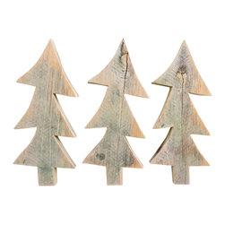 Souvenir Farm, Ltd. - Whimsical Barn Wood Christmas Trees - SET OF 3 Wood Cutouts - Use this SET OF 3 whimsical barn wood Christmas tree cutouts for primitive Christmas crafts and holiday decorating.