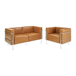 Modway - Charles Grande Leather Loveseat and Armchair Set Of 2 in Tan - Urban life has always a quandary for designers. While the torrent of external stimuli surrounds, the designer is vested with the task of introducing calm to the scene. From out of the surging wave of progress, the most talented can fashion a forcefield of tranquility. Perhaps the most telling aspect of the LC3 series is how it painted the future world of progress. The coming technological era, like the externalized tubular steel frame, was intended to support and assist human endeavor. While the aesthetic rationalism of the padded leather seats foretold a period that would try to make sense of this growth. The result is an iconic sofa series that became the first to develop a new plan for modern living. If previous generations were interested in leaving the countryside for the cities, today it is very much the opposite. If given the choice, the younger generations would rather live freely while firmly seated in the clamorous heart of urbanism. The LC3 series is the preferred choice for reception areas, living rooms, hotels, resorts, restaurants and other lounge spaces.