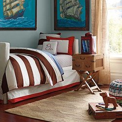 Serena & Lily - Asher Duvet Cover - I love the combo of brown and red for a boy's room. This duvet has a great, classic stripe that can grow up with a toddler.