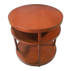 Used Nancy Corzine Trident End Table - This Trident end table features a pleasantly light wood finish that would fit in almost any room. Because of its neutral beauty, it can play well with a variety of wood furniture.