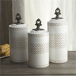 """Jay Companies - American Atelier White Canister Set - Airtight, and space efficient, the White Ceramic Canister Set make it easy to keep dry goods fresh and your kitchen organized. Distinctive in appeal and style, our charming canisters are crafted with the finest ceramic and metal. This set from America Aterlier is ideal for holding kitchen staples such as grains, sugar, flour and tea. Its unique design and elegant metal finial knobs add a traditional decorative touch.                            * Set of 3      * Dimensions: Large: 12.41"""" tall, Medium: 11.3"""" tall, Small: 10.4"""" tall. 4.5"""" in diameter      * Capacity: Large: 67 oz., Medium: 59 oz., Small: 51 oz.      * Care: Hand wash * Includes rubber gasket on top to ensure freshness"""