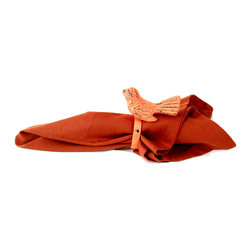 "MarktSq - Orange Bird Napkin Ring (Set of 2) - Bring in color and the outdoors with this charming and elegantly crafted napkin ring. These rings are made of aluminum and have an orange distress finish. We have four different colors including this so you can mix up the colors and dazzle up your table setting. Sold as a set of 2. (Napkin not included). Clean with soft dry cloth. Approximate Dimensions: Ring Dia 2"" x 4"" H x 4"" W."
