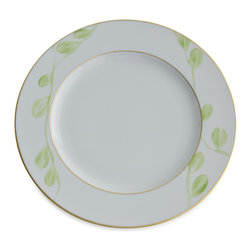 Michael Devine Ltd. - Charlotte Dinner Plate, Lettuce - This graceful design, masterfully hand painted in France on Limoges porcelain by Marie Daage, is inspired by Michael Devine's hand printed fabric. The butterfly motif adds a note of whimsy to the pattern on the dessert plate, mug, breakfast cup and saucer, as well as the teapot. Each beautiful piece is accented in 24 karat gold.