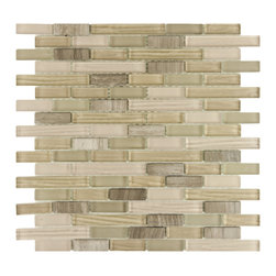 Somertile - SomerTile 12x11.75-in Reflections Piano Sahara Glass and Stone Mosaic Tile (Pack - This neutral stone and glass mosaic by SomerTile looks great as a backsplash or accent in any residential home. The wall tiles come in a pack of 10, so you will have enough to cover 9.8 square feet of your walls with the elegant look and chic style.