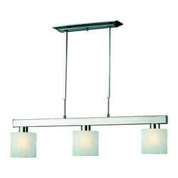 Z-Lite - Z-Lite 3 Light Billiard - Straight line and rectangular detailing defines the bold and contemporary look of this three light fixture. White linen shades provide a splash of elegance, and telescoping rods ensure a perfect hanging height. This fixture would be the perfect addition to a kitchen, a game room, or anywhere else in the home.