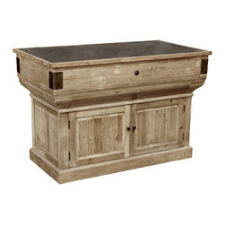 Kathy Kuo Home - Oleron French Country Reclaimed Wood Rustic Kitchen Island - Prepare all your favorite cuisine on this spacious, reclaimed wood island. Evoking the natural elegance of a French Country kitchen, this generously-sized solid wood island has ample storage behind two doors and one large drawer. Variations and imperfections in the wood add to the unique appearance of the stylish station.