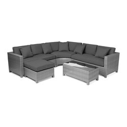 "Reef Rattan - Reef Rattan 5 Piece Sectional Sofa Set - Grey Rattan / Grey Cushions - Reef Rattan 5 Piece Sectional Sofa Set - Grey Rattan / Grey Cushions. This patio set is made from all-weather resin wicker and produced to fulfill your needs for high quality. The resin wicker in this patio set won't fade, shrink, lose its strength, or snap. UV resistant and water resistant, this patio set is durable and easy to maintain. A rust-free powder-coated aluminum frame provides strength to withstand years of use. Sunbrella fabrics on patio furniture lends you the sophistication of a five star hotel, right in your outdoor living space, featuring industry leading Sunbrella fabrics. Designed to reflect that ultra-chic look, and with superior resistance to the elements in a variety of climates, the series stands for comfort, class, and constancy. Recreating the poolside high end feel of an upmarket hotel for outdoor living in a residence or commercial space is easy with this patio furniture. After all, you want a set of patio furniture that's going to look great, and do so for the long-term. The canvas-like fabrics which are designed by Sunbrella utilize the latest synthetic fiber technology are engineered to resist stains and UV fading. This is patio furniture that is made to endure, along with the classic look they represent. When you're creating a comfortable and stylish outdoor room, you're looking for the best quality at a price that makes sense. Resin wicker looks like natural wicker but is made of synthetic polyethylene fiber. Resin wicker is durable & easy to maintain and resistant against the elements. UV Resistant Wicker. Welded aluminum frame is nearly in-destructible and rust free. Stain resistant sunbrella cushions are double-stitched for strength and are fully machine washable. Removable covers made with commercial grade zippers. Tables include tempered glass top. 5 year warranty on this product. Love Seat (R): W 54"" D 30"" H 27"", Love Seat (L): W 54"" D 30"" H 27"", Curved Bench: W 40"" D 20"" H 27"", Ottoman: W 26"" D 26"" H 13"", Coffee Table: W 40"" D 20"" H 16"""