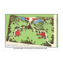 """Buyenlarge.com, Inc. - Country Home in the Vicinity of Cincinnati, Ohio- Paper Poster 20"""" x 30"""" - Aerial Views of landscape plans rendered by a landscape architect showing the house in its setting amidst plantings and trees."""