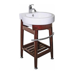 Renovators Supply - White Vitreous China Console Sink with Dark Oak Stand - Bathroom Sink. The Hercules bone china vessel rests elegantly on top of its oak hardwood stand. The oak stand has a dark stain and handy stainless steel towel rail & is designed with extra storage space underneath. There is an overflow, drain sold separately. Accepts single hole faucet, not included.