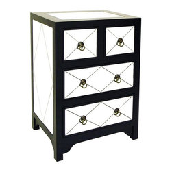 Tanner Mirror Chest - As nightstands or side tables, a pair of these would be so pretty — and could reflect colorful bedding or a chair! I love the ring pulls.