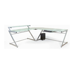 Euro Style - Contemporary L-Shaped 3 Pc Corner Desk w Glas - Table Includes: Large Table, Corner Table, and Small Shelf Table, and keyboard tray. Made of Steel frame and Glass Top. Adjustable feet. Heavy duty powder epoxy coated . Tempered frosted glass desk top and shelves. Aluminum and Frosted Glass. Some assembly required. Assembly Instructions. Small Desk w/ Shelf: 38 in. W x 30 in. L x 37.5 in. H (57.36 lbs.). Large Desk: 30 in. W x 61 in. L x 31.0 in. H (68.8 lbs.)
