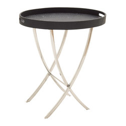 Striking Stainless Steel Wood Vinyl Tray Table - Description: