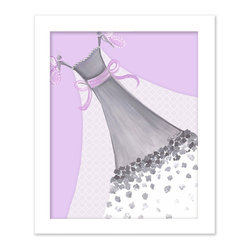 Doodlefish - Butterfly Couture - This light purple based artwork is called Butterfly Couture. Artist Regina Nouvel combines original paintings, graphic elements, jewels and glitter to create a beautiful piece of art for your little girl's room. The hottest combination of grey and pink will work with any decor and looks amazing with our Amore and Dozen Roses Bedding sets. The jewels adorn the neckline of the dress and the butterflies and glitter covers the sheer, graphic infused train.  A Selection of painted or silver frames are available.