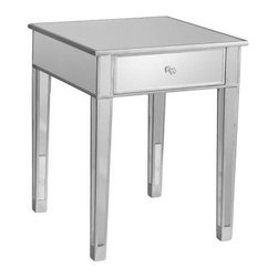 Southern Enterprises Bardot Mirrored Accent table - It's appropriate that the Southern Enterprises Bardot Mirrored Accent table was named after one of film's favorite beauties - this glamorous table is a beauty too. Crafted with a durable medium-density fiberboard base this accent table is covered with glinting mirrored glass and trimmed with silver-painted wood. The spacious top drawer is crowned with a faux crystal knob - a gem we think. About SEI (Southern Enterprises Inc.)This item is manufactured by Southern Enterprises or SEI. Southern Enterprises is a wholesale furniture accessory import company based in Dallas Texas. Founded in 1976 SEI offers innovative designs exceptional customer service and fast shipping from its main Dallas location. It provides quality products ranging from dinettes to home office and more. SEI is constantly evolving processes to ensure that you receive top-quality furniture with easy-to-follow instruction sheets. SEI stands behind its products and service with utmost confidence.