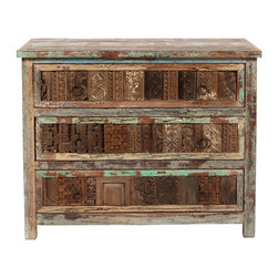 Shabby Chic Carved 3 Drawer Chest - A wonderful story. A green story. Restored and available for a new, eco-friendly generation. Inspired by the hand tools used in ancient art of printing fabrics and by centuries-old hand carved panels adorning the inside and facades of aged buildings. The perfect piece of handmade artwork to incorporate into any dining room or livingroom.