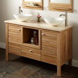 "Durable, Chic Teak - 48"" Payson Teak Double Vanity Cabinet with Travertine Top, Signature Hardware"