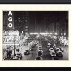 Amanti Art - H. Armstrong Roberts 'Night Scene of Chicago State Street, 1953' Framed Art Prin - Hang a little urban history on your wall with Night Scene of Chicago State Street, 1953 by H. Armstrong Roberts.
