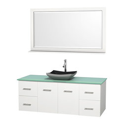 "Wyndham Collection - Centra Bathroom Vanity in White,GN Glass Top,Altair Black Sink,58"" Mir - Simplicity and elegance combine in the perfect lines of the Centra vanity by the Wyndham Collection. If cutting-edge contemporary design is your style then the Centra vanity is for you - modern, chic and built to last a lifetime. Available with green glass, pure white man-made stone, ivory marble or white carrera marble counters, with stunning vessel or undermount sink(s) and matching mirror(s). Featuring soft close door hinges, drawer glides, and meticulously finished with brushed chrome hardware. The attention to detail on this beautiful vanity is second to none."