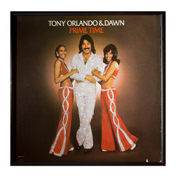 """Glittered Tony Orlando and Dawn Prime Time Album - Glittered record album. Album is framed in a black 12x12"""" square frame with front and back cover and clips holding the record in place on the back. Album covers are original vintage covers."""