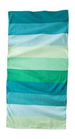 Color Block Beach Towel, Green - Cool blue stripes create an ombré effect on this towel. Sure, striped towels are common and you can find them everywhere, but not every striped towel gets the colors just right.
