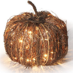 Grandin Road - 12-inch dia. Pre-lit Purplevine Halloween Pumpkin - Natural grapevine is hand-arranged around wrapped-wire frames. Clear, weather-resistant lacquer finish preserves the look. Plugs into any standard outlet. Enchant your harvest decor with the handcrafted appeal of our Pre-lit Grapevine Halloween Pumpkins. The natural look of these outdoor decorations is perfect every autumn, especially illuminated with brilliant mini-lights.   . For use outdoors and indoors.