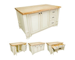 """Hardware Resources - Lyn Design Kitchen Island - Kitchen Island by Lyn Design. Featuring soft-close undermount slides and soft-close European hinges. Acanthus and fluted posts (FP1). 1-3/4"""" Maple Butcher Block Top Sold Separately (ISL05-TOP). DIMENSIONS: 63"""" x 37-1/2"""" x 34-1/4"""" FINISH: AWH Antique White with 1094DBAC and 1093DBAC hardware."""
