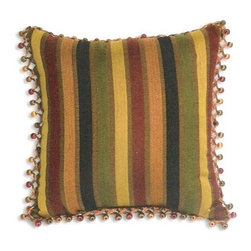 """Canaan - Colby Fiji Striped Pattern Print 18"""" x 18"""" Throw Pillow - Colby Fiji striped pattern print 18"""" x 18"""" throw pillow with berry tassel trim. Measures 18"""" x 18"""" made with a blown in foam. These are custom made in the U.S.A and take 4-6 weeks lead time for production."""