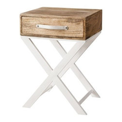 Threshold White and Natural Finish X-Base Accent Table - This side table would be perfect in a beach cottage as a nightstand or side table. I especially like that white leather pull.