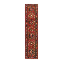 "Torabi Rugs - Hand-knotted Gharajeh Red Wool Rug 2'2"" x 9'0"" - Gharajeh rugs and runners are nomadic and village Persian carpets. They have Caucasian angular designs with a bold geometrics. These carpets are hand knotted in the Gharadah region in northwestern Iran. They are handmade of high-quality lustrous wool, with gentle earth tones.  The patterns are usually geometric with small medallions, plants, animals, and vases. These striking area rugs go well blend with traditional, southwestern and modern decor styles"