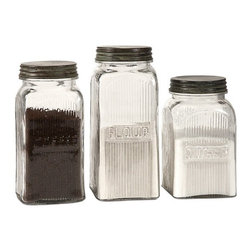 "IMAX - Dyer Glass Canisters - Set of 3 - With a vintage flair, the Dyer glass canisters hold flour, sugar and coffee on any countertop or pantry shelf in style. Food safe. Item Dimensions: (7.25-8.25-9.25""h x 4""w x 4"")"
