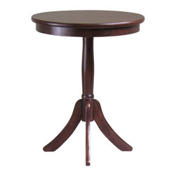 "Winsome - Winsome Belmont End Table with Pedestal Leg in Cappuccino Finish - Winsome - End Tables - 40020 - Belmont wooden accent/end table is a classical style pedestal base round table. The 20"" diameter is a size to hold a lamp, floral arrangement, photos, etc. The 25"" height is great as an end table. The solid wood table is sturdy and easily assembled."
