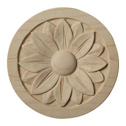 """Ekena Millwork - 4 1/4""""W x 4 1/4""""H x 5/8""""P Bedford Rosette, Rubberwood - Our rosettes are the perfect accent pieces to cabinetry, furniture, fireplace mantels, ceilings, and more.  Each pattern is carefully crafted after traditional and historical designs.  Each piece is carefully carved and then sanded ready for your paint or stain.  They can install simply with traditional wood glues and finishing nails."""
