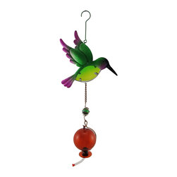 Zeckos - Green Metal and Glass Hanging Hummingbird Feeder - You'll have all those beautiful little hummingbirds flocking to your yard when you hang this amazing bird feeder Crafted from metal and colored glass with a hand-painted glossy green and purple finish, this hummingbird is a spectacular sight on its own, and hangs 21 inches (53 cm) from the attached hanger with a 7 5/8 inch (19 cm) wide bird accent that has a colored glass insert body. The round red glass bulb is 3 1/8 inches (8 cm) diameter and is attached with a green metal chain accented by an iridescent green glass stone. It's a great gift for a hummingbird loving friend, or to accent your own garden, lawn or patio
