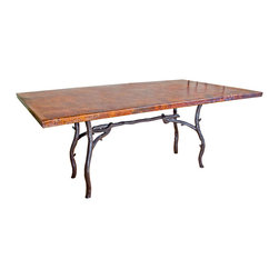 "South Fork Rectangle Dining Table - Enhance the nature-inspired mood of your dining room with the South Fork Rectangle Dining Table. Crafted from high-quality recycled copper and hand-forged iron  this dining table has a hand-hammered and fired top made using a hand-applied  Old World technique for variations on each piece. A wax coating adds protection. The artisan-crafted iron base features graceful twigs and branches in a black finish. Measures 72""W x 42""D x 30""H. ~ Ships from the manufacturer. Allow 4 to 6 weeks."