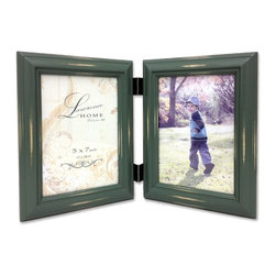 Lawrence Frames - Weathered Green 5x7 Hinged Double - Beautiful distressed Vintage Green wood picture frame.  Hand finished so that every piece is unique and different.  Designer wood picture frame has a casual but elegant decorative look.  High quality Vintage Green velvet backing.  Frame can stand vertically or horizontally and comes with hangers for horizontal or vertical wall mounting.   Individually boxed.