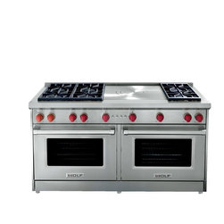 """Wolf 60"""" Pro-style Gas Range, Stainless Steel 