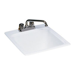 SWAN - SWAN DI00000 Single Basin Drop In Utility Sink - DI00000.050 - Shop for Commercial Laundry and Utility from Hayneedle.com! The SWAN DI00000 Single Basin Drop In Utility Sink is that final piece you're looking for to complete your kitchen or laundry sink unit. Made from a durable composite material this unit come available in your choice of four colors to best match your decor: bisque gray granite Tahiti desert and natural white. The unit easily drops-in to a pre-cut hole and has a 17.5-gallon capacity.About Trumbull IndustriesFounded in 1922 as a single branch plumbing supply house Trumball Industries has evolved over the years in to a privately held corporation and full-line distributor with specialized divisions. With 6 branch locations Trumball Industries has several divisions: an Industrial Division that provides products and services to industrial manufacturers a Home Center Division that offers expertise in all major kitchen and bath products a Municipal Division that offers a full line of water and sewer products and a Master Distribution Center with 500 000 square feet housing over 80 000 products. Aside from providing quality services to their customers the people at Trumbull Industries are happy provide a tour of any of their facilities as well as assist you with any design layout or purchasing decisions.