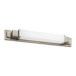 None - Greek Key 1-light Pewter Linear Bath Bar - This energy-efficient Greek key pewter bath bar sends casual light in all directions. This light requires one 18-watt GU24 bulb. With matte white glass, pewter finish, rectangular shape, and easy assembly, it's great for any bathroom.