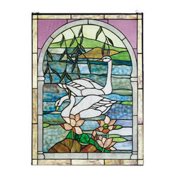 """Meyda Tiffany - Meyda 22""""W x 30""""H Swans Stained Glass Window - Graceful Pearl White swans float on placid Azure waters in this charming arched pond and landscape scene. This window is handcrafted utilizing the copper foil construction process and 254 pieces of stained art glass encased in a solid brass frame. Mounting bracket and jack chain included."""