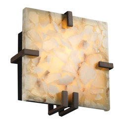 Justice Design Group - Justice Design Group ALR-5550 Wall Sconce from the Alabaster Rocks! Collection - Justice Design Group ALR-5550 Clips SquareWallSconce